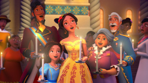 """ELENA OF AVALOR - """"Navidad"""" - In the special """"Navidad"""" episode, premiering FRIDAY, DECEMBER 9 (7:30 p.m., ET/PT) on Disney Channel, Elena bring all the communities of Avalor together to share each other's holiday traditions.  But when a Do–a Paloma scheme causes an overly competitive atmosphere, Elena sets off on a traditional """"parranda"""" and carols through the city to remind everyone of the true spirit of Navidad. (Disney Channel) ESTEBAN, ISABEL, ELENA, LUISA, FRANCISCO"""