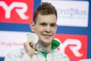 Bernek Péter ezüstérmes lett férfi 400 méteres gyorsúszás döntőjében a Rövid pályás úszó-Európa-bajnokságon Koppenhágában 2017.12.13.-án. Fotó: Derencsényi István/MUSZ