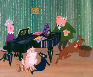 Budapest, 1980-as évek Irma néni, Szerénke, Lukrécia, Károly bácsi és Frakk, a magyar vizsla (b-j) a Frakk, a macskák réme című rajzfilmsorozat egyik jelenetében. A felvétel készítésének pontos dátuma és készítője ismeretlen. MTV Fotó: -