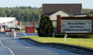 """File photo dated 08/01/15 of American Air Force Base RAF Mildenhall in Suffolk. Suffolk Police says officers are responding to reports of a """"significant incident at RAF Mildenhall"""", amid reports of a car trying to ram the gates."""